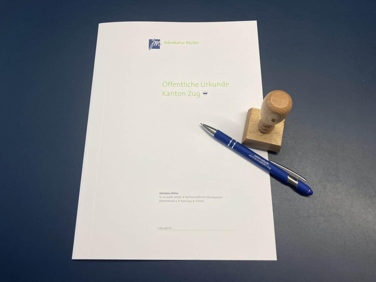 JM-Advokatur-Müller-Zug, Urkundenmappe